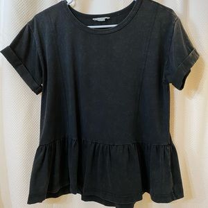 Loverich Black Peplum Top